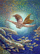 Golden Fish Painting Posters - Fantastic Journey II - Mermaid Poster by Nancy Tilles
