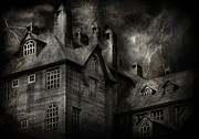 Scary Mansion Framed Prints - Fantasy - Haunted - It was a dark and stormy night Framed Print by Mike Savad