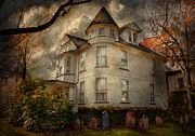Fall Scenes Acrylic Prints - Fantasy - Haunted - The Caretakers House Acrylic Print by Mike Savad