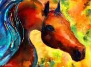 Austin Pet Artist Drawings - Fantasy arabian horse by Svetlana Novikova