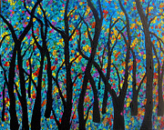 Tree Blossoms Paintings - Fantasy Blue Rainbow Forest by Suzeee Creates