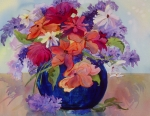Red Bouquet Paintings - Fantasy Bouquet by Pamela Goedhart