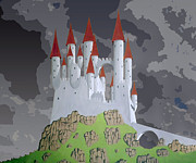 Camelot Painting Prints - Fantasy castle Print by Rod Jones