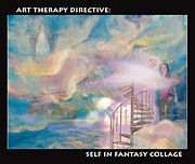 Stairway To Heaven Painting Posters - Fantasy Collage Poster by Anne Cameron Cutri