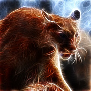 Fractalius Art Posters - Fantasy Cougar Poster by Paul Ward