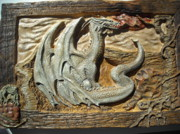 Fantasy Reliefs Prints - Fantasy Dragon Print by Doris Lindsey