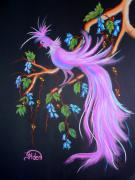 Fantasy Tree Pastels Posters - Fantasy Feather Bird Poster by Jo Hoden