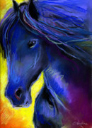 Animal Portraits Pastels Prints - Fantasy Friesian Horse painting print Print by Svetlana Novikova