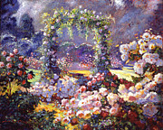 Roses Painting Posters - Fantasy Garden Delights Poster by David Lloyd Glover