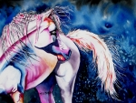 Abstract Horse Paintings - Fantasy by Maria Barry