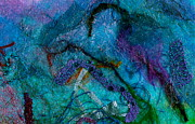 Textile Collage Posters - Fantasy Reef Poster by Linda S Watson