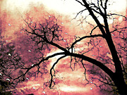 Fantasy Surreal Gothic Orange Black Tree Limbs  Print by Kathy Fornal