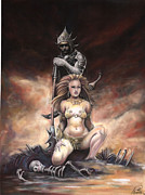 Queen Pastels Framed Prints - Fantasy warrior queen. Framed Print by Ole Hedeager Mejlvang
