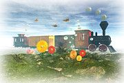Caboose Digital Art Prints - Fantasyland Express Print by Carol and Mike Werner