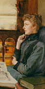 Chin On Hand Paintings - Far Away Thoughts by Sir Lawrence Alma-Tadema