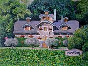 Wine Country Painting Posters - Far Niente Winery Poster by Gail Chandler