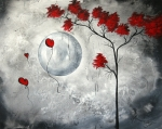 Crimson Prints - Far Side of the Moon by MADART Print by Megan Duncanson