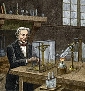 Michael Photo Posters - Faradays Electrolysis Experiment, 1833 Poster by Sheila Terry