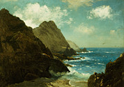 Crashing Surf Paintings - Farallon Islands by Albert Bierstadt