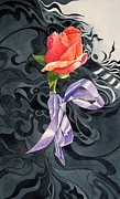 Rosebud Paintings - Farewell by Marina  Kulik