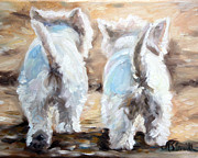 Westie Terrier Framed Prints - Farewell Framed Print by Mary Sparrow Smith