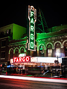 Red Buildings Prints - Fargo ND Theatre at Night Picture Print by Paul Velgos