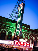 North Dakota Prints - Fargo ND Theatre Marquee at Night Photo Print by Paul Velgos
