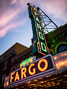 North Dakota Metal Prints - Fargo Theater and Marquee Sign at Night Photo Metal Print by Paul Velgos