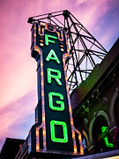 North Dakota Metal Prints - Fargo Theater Sign at Dusk Photo Metal Print by Paul Velgos