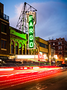 Red Buildings Prints - Fargo Theatre and Downtown Buidlings at Night Print by Paul Velgos