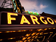 Dakota Framed Prints - Fargo Theatre Sign at Night Picture Framed Print by Paul Velgos