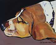 Canvas Dog Prints Prints - Farley Print by Pat Saunders-White            