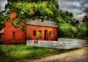 Farm Scenes Prints - Farm - Barn - A small farm house  Print by Mike Savad