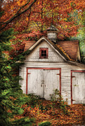 Orange Leaves Framed Prints - Farm - Barn - Our old shed Framed Print by Mike Savad