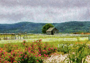 Grey Clouds Prints - Farm - Barn - Out in the country  Print by Mike Savad