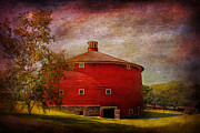Vintage River Scenes Prints - Farm - Barn - Red round barn  Print by Mike Savad