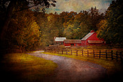 Autumn Farm Scenes Prints - Farm - Barn - Rural Journeys  Print by Mike Savad