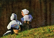 Sisters Prints - Farm - Farmer - The young maidens Print by Mike Savad