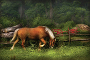 Grazing Horse Posters - Farm - Horse - In the Meadow Poster by Mike Savad