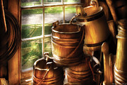 Milking Art - Farm - Pail - A pile of pails by Mike Savad