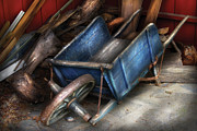 Junk Posters - Farm - Tool - One used wheelbarrow Poster by Mike Savad