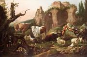 Bulls Painting Framed Prints - Farm animals in a landscape Framed Print by Johann Heinrich Roos