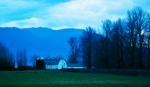 Dairy Farm Posters - Farm at Dusk on Sumas Prairie Poster by Marion McCristall