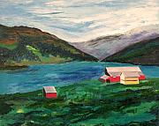 Fjord Paintings - Farm At The Fjord by Richard Beauregard