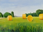 Farm Fields Paintings - Farm Bales by Gloria Cigolini-DePietro