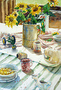 Corn Paintings - Farm Belt Breakfast by Janet Flom
