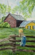 Split Rail Fence Painting Prints - Farm Boy Print by Charlotte Blanchard