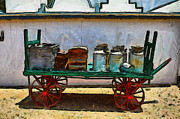 Jugs Digital Art Framed Prints - Farm buggy dairy cart Framed Print by Bill Alexander
