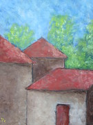 Farm Buildings Painting Originals - Farm Buildings by Patricia Cleasby