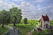 Horse And Cart Paintings - Farm By The Stream by Ronald Haber